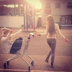 Ride in a shopping cart...What have I been doing with my life, I need to get out more