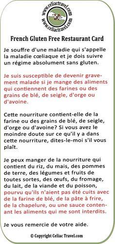 French Gluten Free Restaurant Card