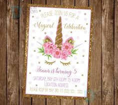 Unicorn Invitation - Unicorn Birthday Invitation - Unicorn Party Invitation - Unicorn Floral Invite - Unicorn Party Invite - Magical Party by DigitalArtDesignsByB on Etsy