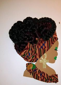 African Queen Lady Diva Wreath w/Authentic African Print Fabric Head Wreaths, African Crafts, African Head Wraps, Black Love Art, Wreath Supplies, Afro Art, Silhouette Art, African American Art, Wreath Crafts