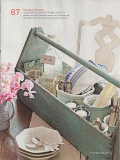 Tool Box used as caddy - 100 Ideas Flea Market Style by Donna Talley, Regional Editor and Producer for Meredith Publications - John Bessler, photographer