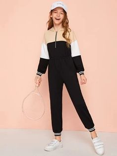 To find out about the Girls Zip Up Colorblock Striped Cuff Hooded Jumpsuit at SHEIN, part of our latest Girls Jumpsuits ready to shop online today! Preteen Girls Fashion, Teenage Girl Outfits, Girls Fashion Clothes, Kids Outfits Girls, Cute Girl Outfits, Cute Outfits For Kids, Teen Fashion Outfits, Cute Casual Outfits, Stylish Outfits