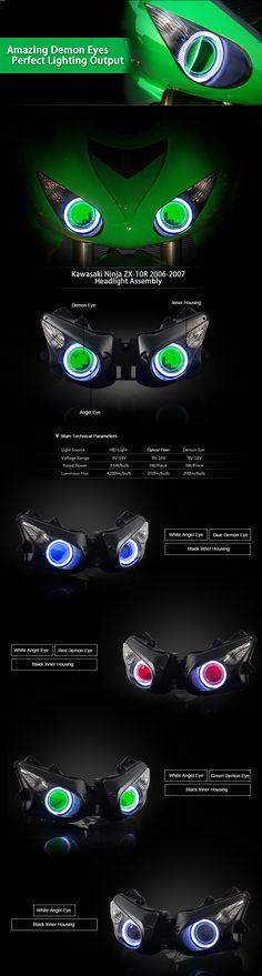 LED Angel Eye HID Projector Headlight Assembly Kawasaki Ninja ZX-10R ZX10R 2006 2007
