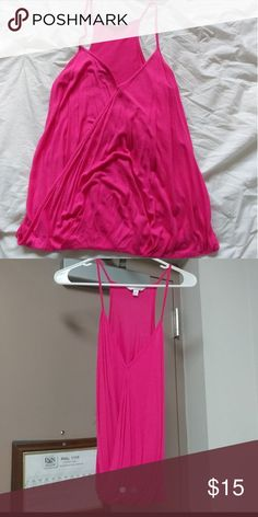 Pink lose shirt Spaghetti strap. Loose and flowy but has band at the bottom to hold it down Tops Tank Tops