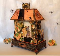 annes papercreations: Graphic 45 An Eerie tale mini album and house stand tutorial finish part #graphic45 #aneerietale
