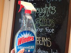 Cleaning chalk markers on a chalkboard. Apparently, windex has the same ingredients as chalkmarker cleaner. Others say magic eraser works well too.