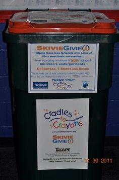 SkivieGivie.org collection bin at Bavis Arena in Rockland, MA
