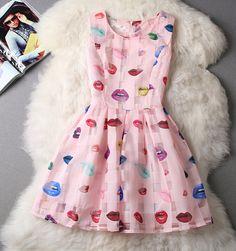 Slim cute sleeveless vest printed organza dress VC40908MN