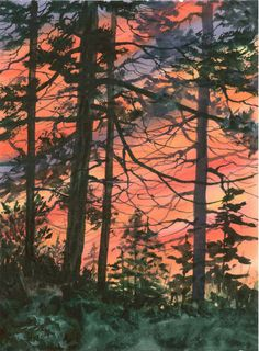 """Nature Sunset Art - """"Appalachian Sunset"""" - Watercolor Painting by Lorraine Skala - Please visit my Etsy Shop to purchase notecards or prints"""