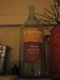 2 Mar ace little bistro/bar on south of river (near ponte Vecchio + Open Bar) where you could get a glass mug of wine (helping yourself using the tap at the bottom of this huge bottle of wine) from 1 euro! Whiskey Bottle, Wine, Mugs, Drinks, Glass, Food, Drinking, Beverages, Drinkware