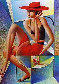 Girl In Red Georgy Kurasov 2001 Cubist Artists, Cubism Art, Art Pop, Modern Art, Contemporary Art, Art Moderne, Russian Art, Figurative Art, Art Pictures