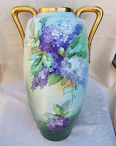 18' Fabulous Austria 1900 Hand Painted 'Purple & White Lilacs' Floral Vase by the Artist, 'G. Glowienke'