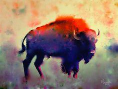 Bison Stretched Canvas Print / Canvas Art By Rosalina Atanasova Buffalo Painting, Buffalo Art, Mandala, Pastel, Wildlife Art, Western Art, Bison, Native American Art, Animal Paintings