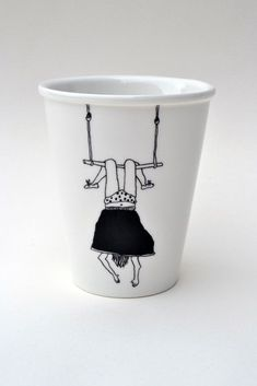 Trapeze Girl porcelain cup with handmade by helenbONETSY on Etsy Painted Mugs, Painted Plates, Pottery Painting, Ceramic Painting, Diy Becher, Diy Mugs, Cup Art, Sharpie Art, Cute Mugs