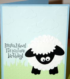 Belated Birthday Card Handmade Sheep by creativeseconds on Etsy