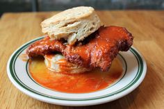 """f-word: """"chicken biscuit with hot sauce & honey butter photo by a * b """""""