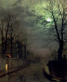 Blea tarn at first light, Langdale pikes in the distance - John Atkinson Grimshaw - WikiPaintings.org