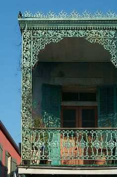 New Orleans French Quarter balcony close up. Ironically, what many believe is the Hallmark of the French Quarter was actually built by the Spanish. This is an example of Spanish wrought iron work on story balconies. You can find these buildings in New Orleans Homes, New Orleans Louisiana, Louisiana Usa, New Orleans Architecture, Architecture Details, Iron Balcony, New Orleans French Quarter, Crescent City, Las Vegas Hotels