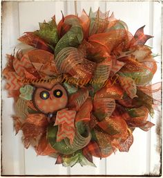 Your place to buy and sell all things handmade Fall Deco Mesh, Autumn Wreaths, Wreath Crafts, Front Door Decor, Covered Boxes, Deco Mesh Wreaths, Garland, Burlap, Floral