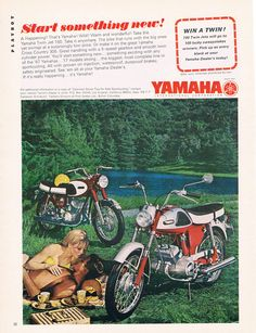 Start something new! | Yamaha 1967 Twin Jet 100. Vintage Yamaha Motorcycle Ad - Japan