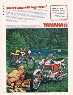 Start something new! | Yamaha 1967 Twin Jet 100. Vintage Yamaha Motorcycle Ad - Japan