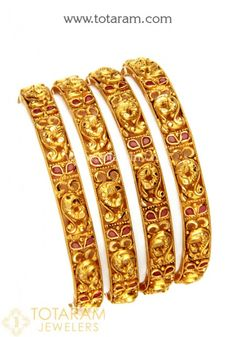 22 Karat Gold 'Peacock' Bangles with Color Stones (Temple Jewellery) - Set of 4 Pair) Jewelry Sets, Gold Jewelry, Women Jewelry, Gold Necklace, Gold Bangles For Women, Uncut Diamond, Diamond Bangle, Temple Jewellery, Necklace Designs