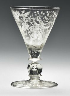 A NETHERLANDS FAÇON-DE-VENISE GLASS DIAMOND-POINT-ENGRAVED GOBLET   1678, DATED A/F 1678, SIGNED J.W. KALDENBACH