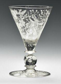 A NETHERLANDS FAÇON-DE-VENISE GLASS DIAMOND-POINT-ENGRAVED GOBLET   1678, DATED A/F 1678, SIGNED J.W. KALDENBACH