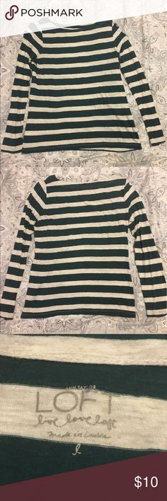 Ann Taylor Loft Striped Long Sleeve Top EUC; Dark Green & Grey striped long sleeve boat neck top; FREE gift with purchase ❤️🎁 LOFT Tops Tees - Long Sleeve