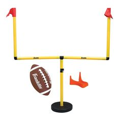 Franklin Sports Go Pro Youth Football Goal Post Set Features x pvc goal post with water fill base. Goal post adjusts from to in height! Includes authentic micro football with kicking tee. Pump and inflation needle. Ages 4 and up. Football Goal Post, Youth Football, Flag Football, Football Field, Football Equipment, Pe Equipment, Sports Flags, Sports Games For Kids, Contact Sport