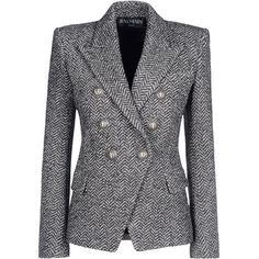 Balmain Blazer ($1,469) ❤ liked on Polyvore featuring outerwear, jackets, blazers, coats, tops, grey, balmain, grey jacket, grey tweed blazer and multi pocket jacket