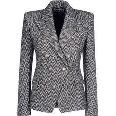 Balmain Blazer (€1.395) ❤ liked on Polyvore featuring outerwear, jackets, blazers, coats, tops, grey, grey tweed blazer, tweed jacket, snap jacket and grey jacket