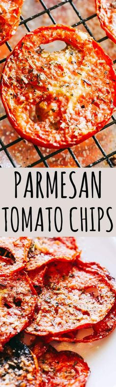 Parmesan Tomato Chips Recipe – Turn ordinary tomatoes into sweet, crispy tomato chips bursting with delicious flavors. No fryer or dehydrator necessary for these cheesy tomato chips! #tomatochipsoven #bakedtomatochips #tomatoes #chips #healthyrecipes #snacks