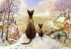 Winter, cat and snow in fine art. Paintings with winter cat. Cat Drawing, Painting & Drawing, Images D'art, Winter Cat, Illustration Art, Illustrations, World Oil, Fine Art, Wall Art Pictures