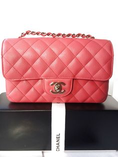 e670e1c2db4c Auth BNIB Chanel Caviar Leather Mini Rectangular Flap Bag Dark Pink  Rectangle $3695.0