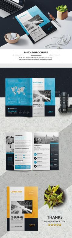 Corporate Bi-Fold Brochure 03 - #Corporate #Brochures Download here: https://graphicriver.net/item/corporate-bifold-brochure-03/19578886?ref=alena994