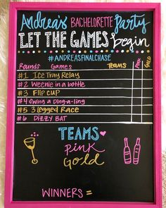Beer Olympics Party, Summer Olympics, White Trash Party, Fun Drinking Games, Chalkboard Markers, Adult Party Themes, Bachlorette Party, Bachelorette Ideas, Birthday Chalkboard