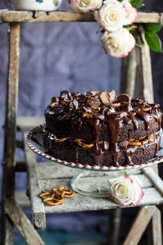 Fudgy One-Bowl Chocolate Peanut Butter Cup Pretzel Cake | halfbakedharvest.com @hbharvest