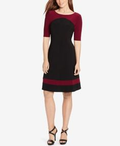 American Living Colorblocked A-Line Dress $79.00 A contrasting yoke and striped hem accentuate the slimming silhouette of a soft jersey dress from American Living. Its three-quarter-length sleeves provide enhanced coverage, and the skirt flows effortlessly with every step.