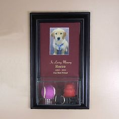 Red Matboard  4 Lines of engraving  7w x 4d x 4h Real Glass Display Box  Beveled slot for a 5 x 3.5 picture frame  Removable clear acrlyic ball holder
