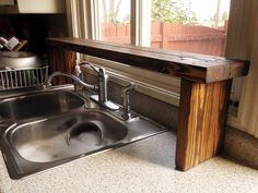 over the sink shelf from pallet wood, diy, kitchen design, pallet, shelving ideas, woodworking projects, Over the sink window shelf made from pallet wood