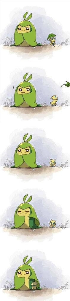 Aww thats sweet a Swadloon helping a joltik - I don't know this generation but its still so cute