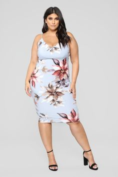 64b82bfed14 Plus Size Garden Fresh Floral Dress - Light Blue  27.99  fashion  ootd   outfit