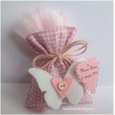 Sacchetto porta confetti bomboniera bimba farfalla