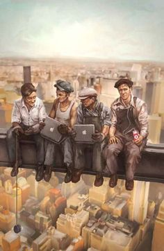 Cool Paintings By Drew Beam Caricatures, Lunch Atop A Skyscraper, Nostalgic Art, Propaganda Art, Funky Art, We Are The World, Illustrations, Retro Futurism, Cool Paintings