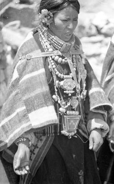 "Nepal   ""Woman in dance dress"". Thakali (Bhotia) woman preparing for Kumar Jatra ceremony. Lubra, Mustang district. 1962   ©SOAS, Nicholas Haimendorf Digital Archives, Tourism Industry, Boutique Ideas, Bhutan, Photo Archive, World Cultures, Indian Sarees, Dance Dresses, Tibet"