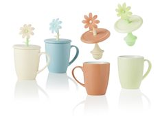 Mug con cover flora colori assortiti in new bone china con filtro in silicone - Brandani
