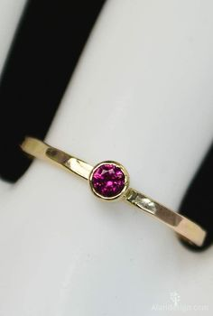 """Classic Ruby Ring (July's Mother's/Birthstone Ring) Minimal & Simple - 14k Yellow Gold Filled. Rustic, Everyday Ring. Perfect for a flash of gold and color on the hand, without being to """"much."""" - High"""