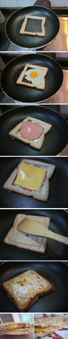 Super Easy Breakfast Sandwiches - (Yes, there is a recipe. No, it is not in a language I understand. No matter. The pics say it all.)