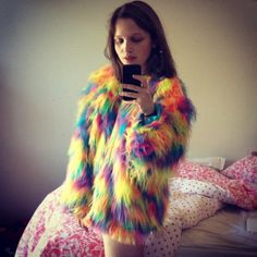 Furry rainbow coat